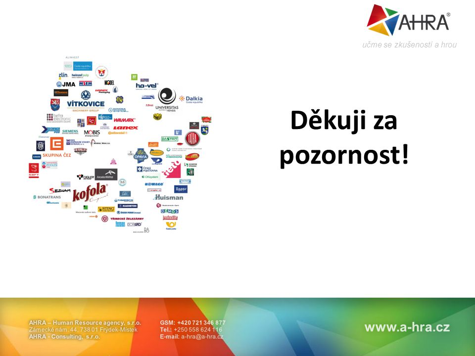 GSM: +420 721 346 877 Tel.: +250 558 624 116 E-mail: a-hra@a-hra.cz AHRA – Human Resource agency, s.r.o.