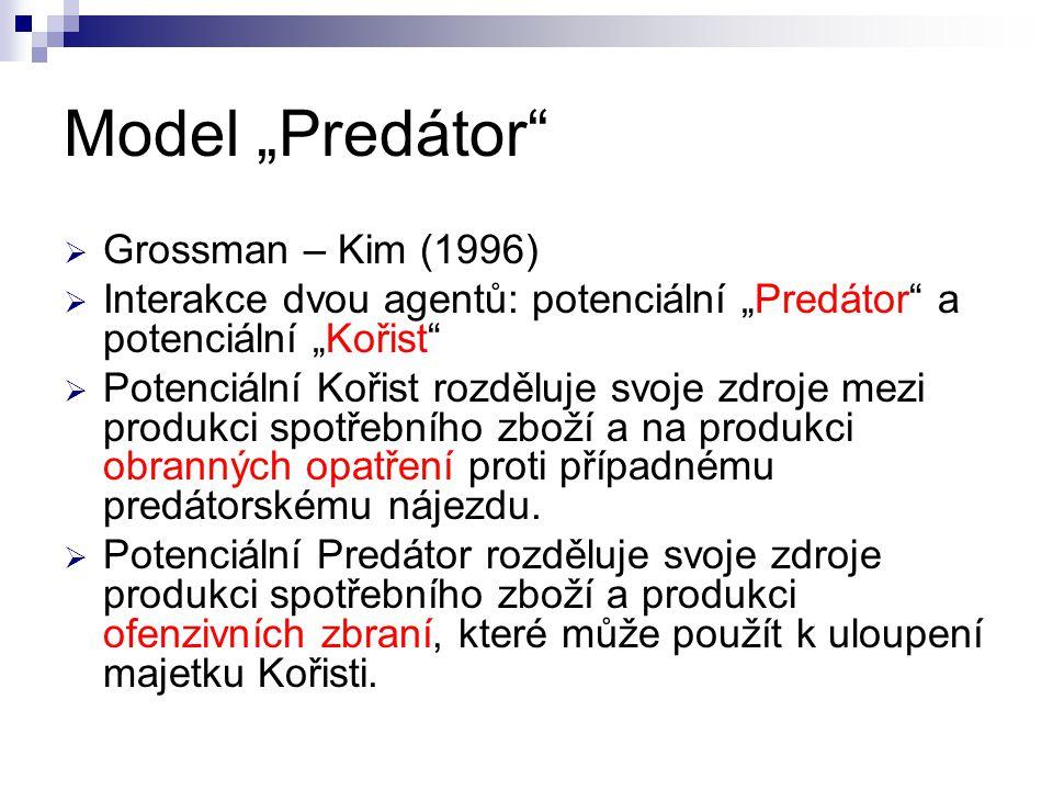 """Model """"Predátor  Grossman – Kim (1996)  Interakce dvou agentů: potenciální """"Predátor a potenciální """"Kořist  Potenciální Kořist rozděluje svoje zdroje mezi produkci spotřebního zboží a na produkci obranných opatření proti případnému predátorskému nájezdu."""