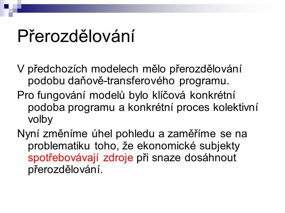 Přerozdělování V předchozích modelech mělo přerozdělování podobu daňově-transferového programu.