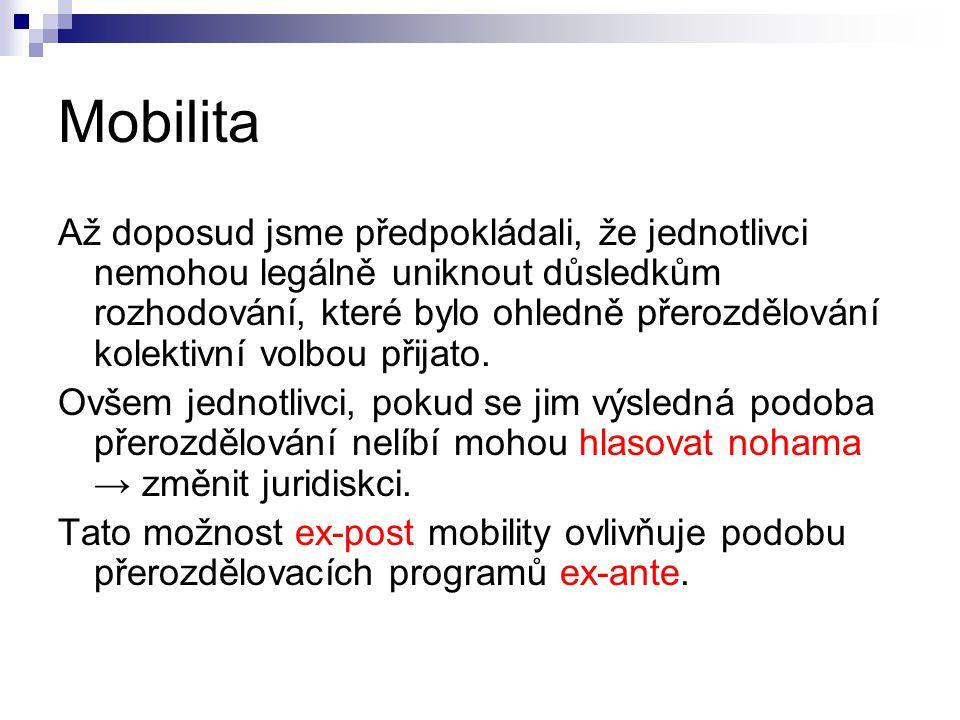 Mobilita Až doposud jsme předpokládali, že jednotlivci nemohou legálně uniknout důsledkům rozhodování, které bylo ohledně přerozdělování kolektivní volbou přijato.