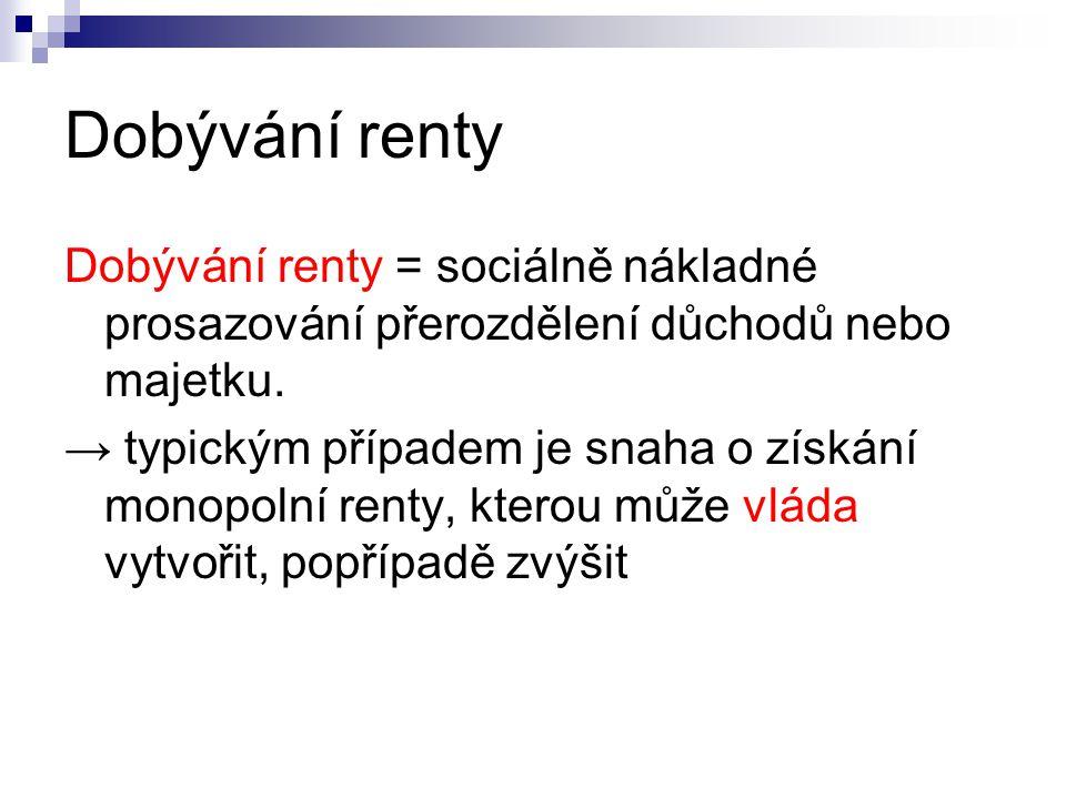 Dobývání renty Dobývání renty = sociálně nákladné prosazování přerozdělení důchodů nebo majetku.