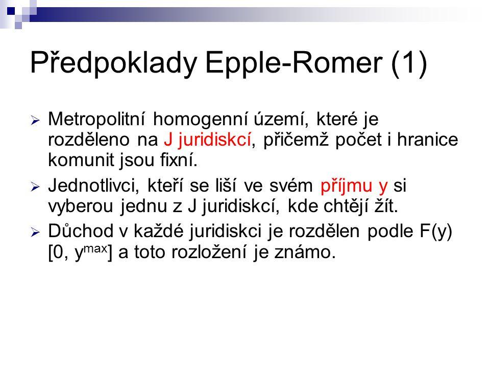 Předpoklady Epple-Romer (1)  Metropolitní homogenní území, které je rozděleno na J juridiskcí, přičemž počet i hranice komunit jsou fixní.
