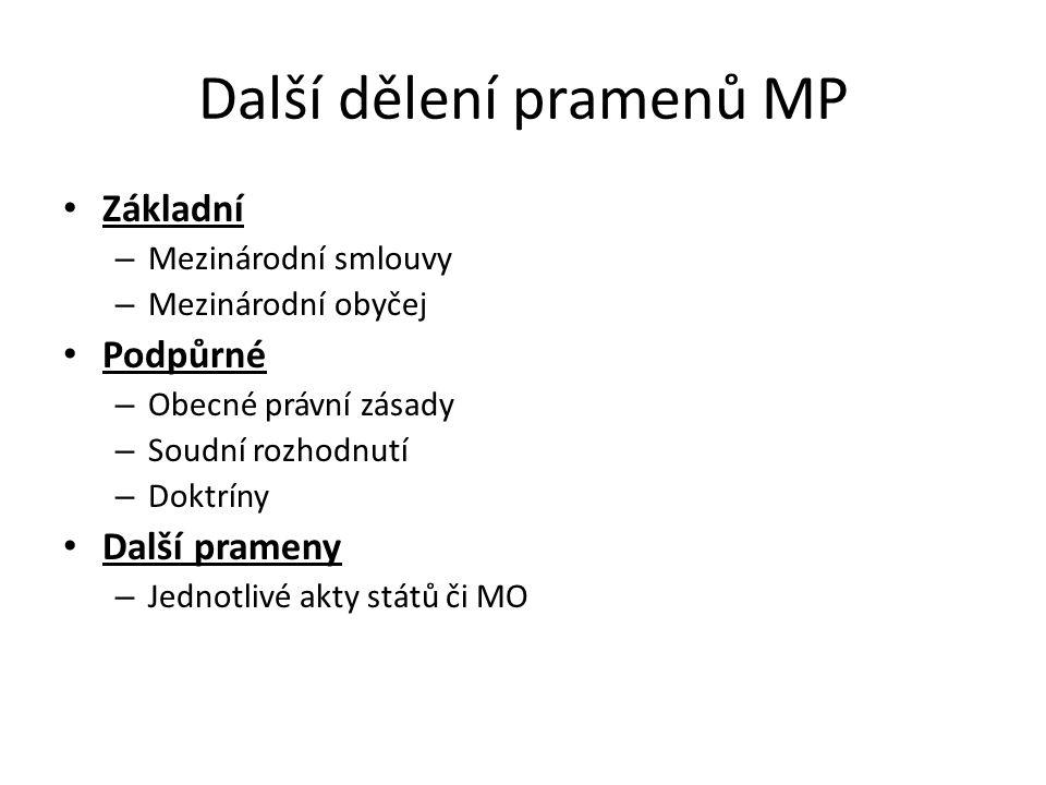 Další dělení pramenů MP Základní – Mezinárodní smlouvy – Mezinárodní obyčej Podpůrné – Obecné právní zásady – Soudní rozhodnutí – Doktríny Další prameny – Jednotlivé akty států či MO