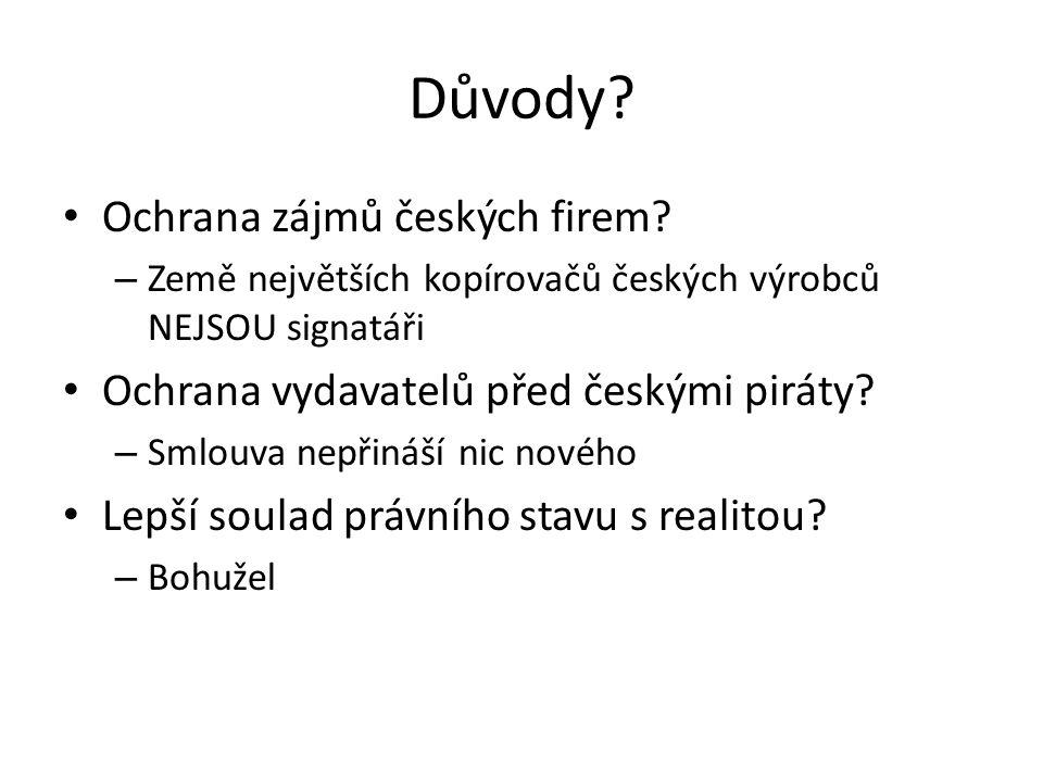 Důvody. Ochrana zájmů českých firem.