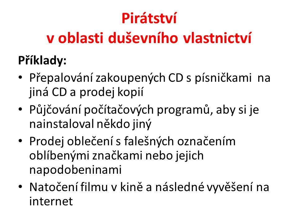 Pirátství v oblasti duševního vlastnictví Příklady: Přepalování zakoupených CD s písničkami na jiná CD a prodej kopií Půjčování počítačových programů,