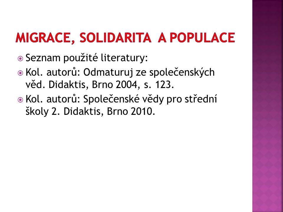  Seznam použité literatury:  Kol. autorů: Odmaturuj ze společenských věd. Didaktis, Brno 2004, s. 123.  Kol. autorů: Společenské vědy pro střední š