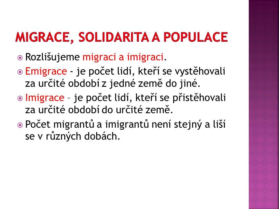  Rozlišujeme migraci a imigraci.  Emigrace - je počet lidí, kteří se vystěhovali za určité období z jedné země do jiné.  Imigrace – je počet lidí,