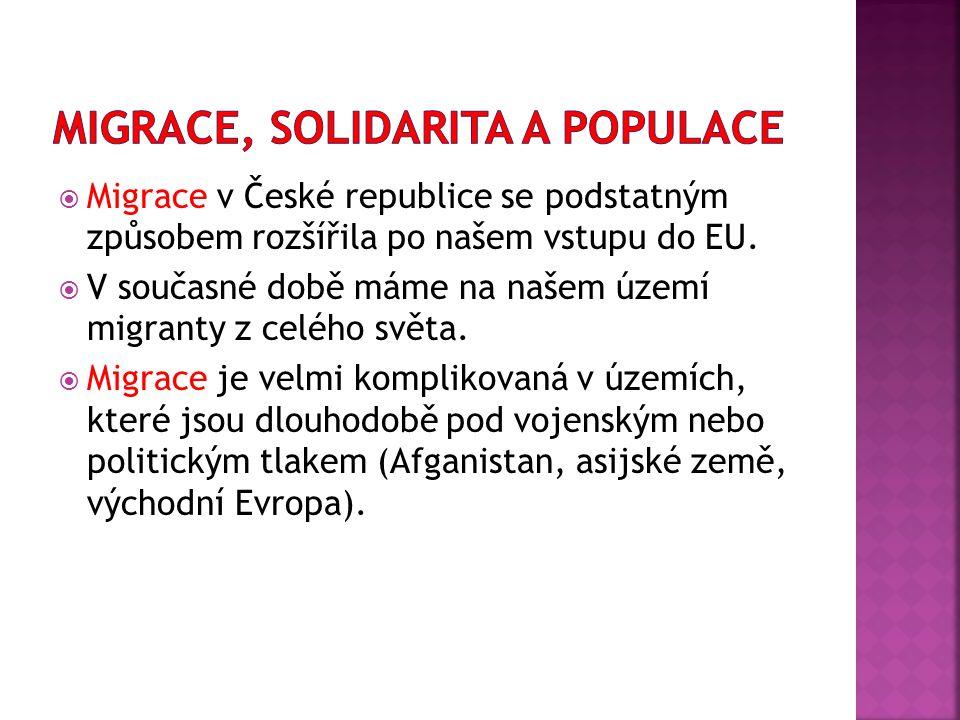  Migrace v České republice se podstatným způsobem rozšířila po našem vstupu do EU.  V současné době máme na našem území migranty z celého světa.  M