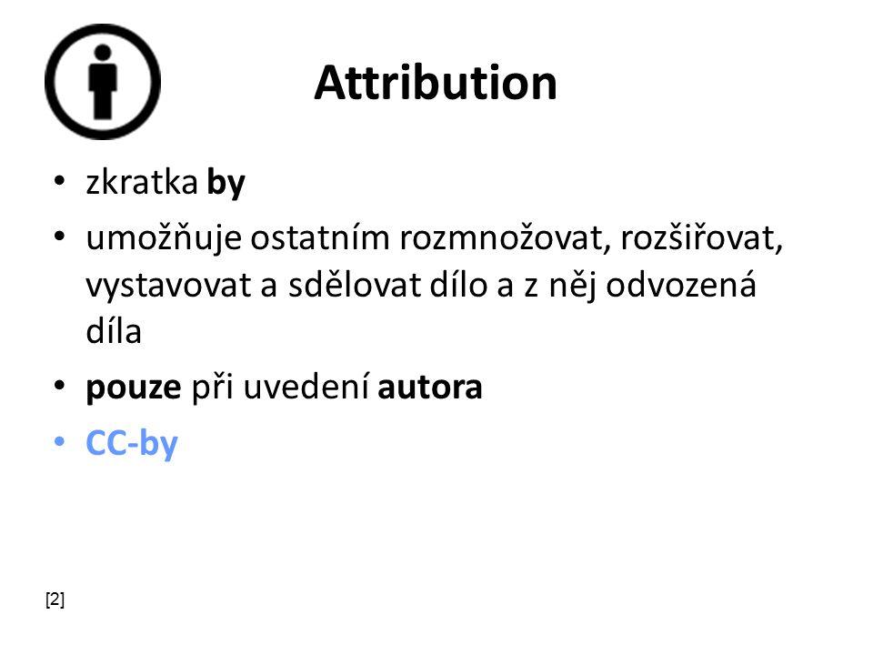 Attribution zkratka by umožňuje ostatním rozmnožovat, rozšiřovat, vystavovat a sdělovat dílo a z něj odvozená díla pouze při uvedení autora CC-by [2]