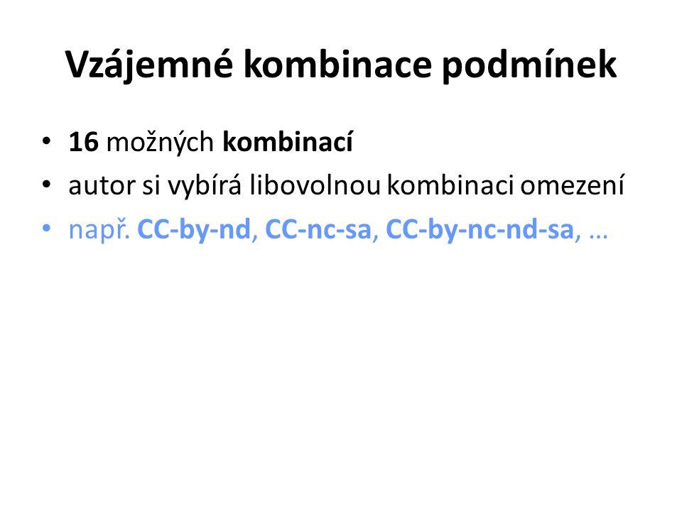 Vzájemné kombinace podmínek 16 možných kombinací autor si vybírá libovolnou kombinaci omezení např.