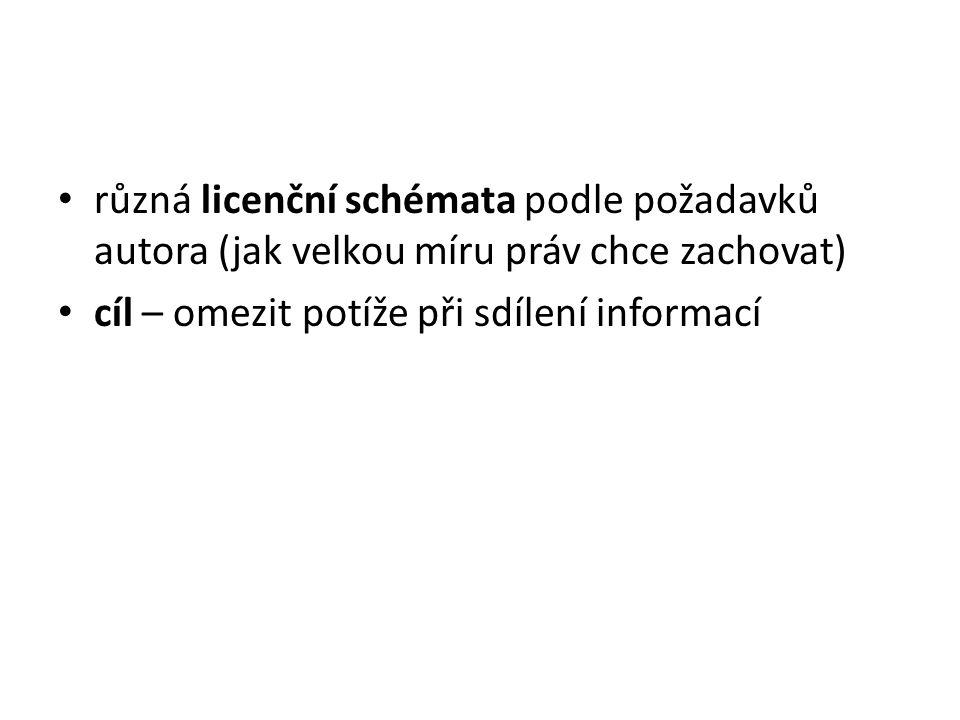 různá licenční schémata podle požadavků autora (jak velkou míru práv chce zachovat) cíl – omezit potíže při sdílení informací