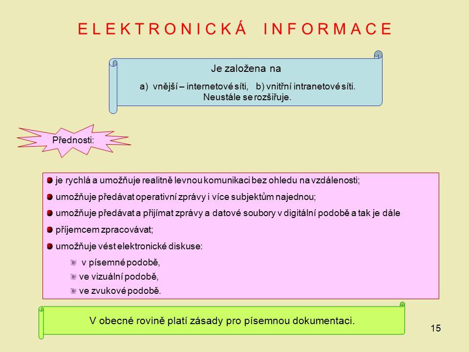 15 E L E K T R O N I C K Á I N F O R M A C E Je založena na a) vnější – internetové síti, b) vnitřní intranetové síti. Neustále se rozšiřuje. Přednost