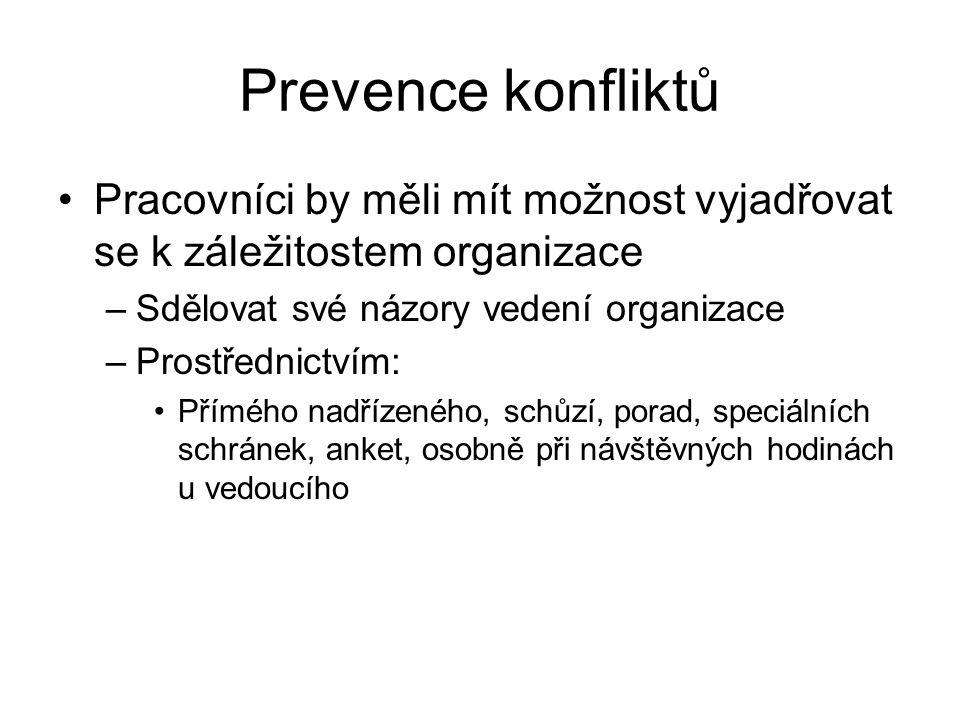 Prevence konfliktů Pracovníci by měli mít možnost vyjadřovat se k záležitostem organizace –Sdělovat své názory vedení organizace –Prostřednictvím: Pří