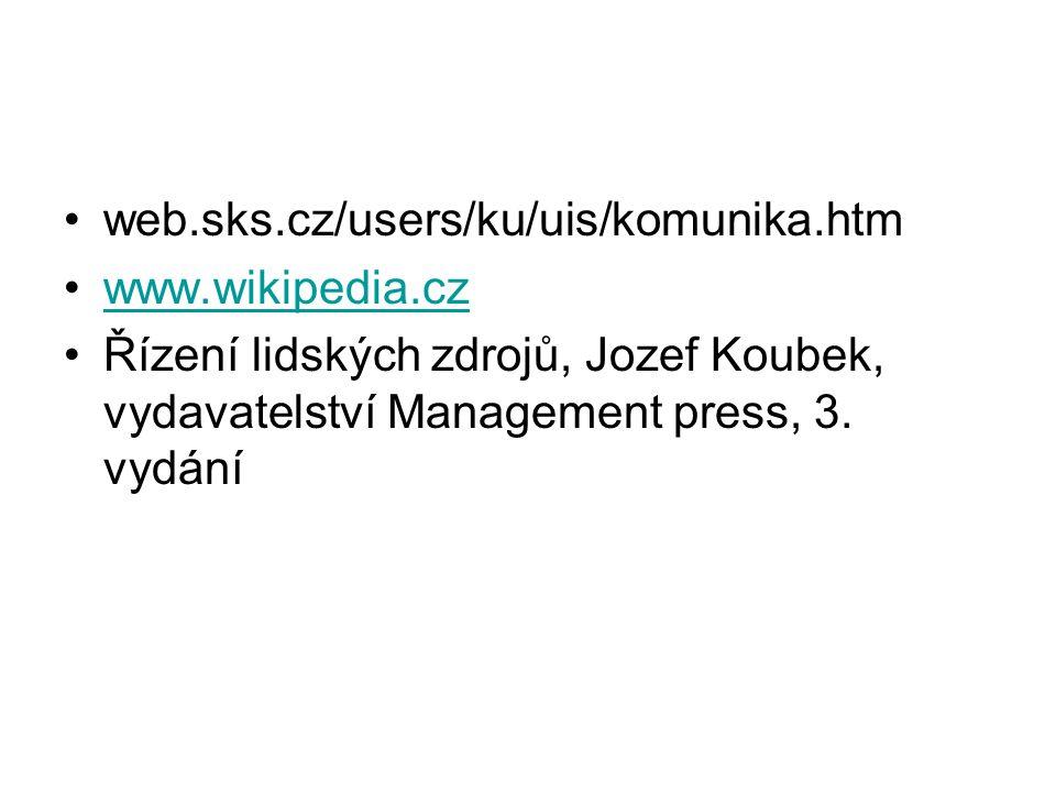 web.sks.cz/users/ku/uis/komunika.htm www.wikipedia.cz Řízení lidských zdrojů, Jozef Koubek, vydavatelství Management press, 3. vydání