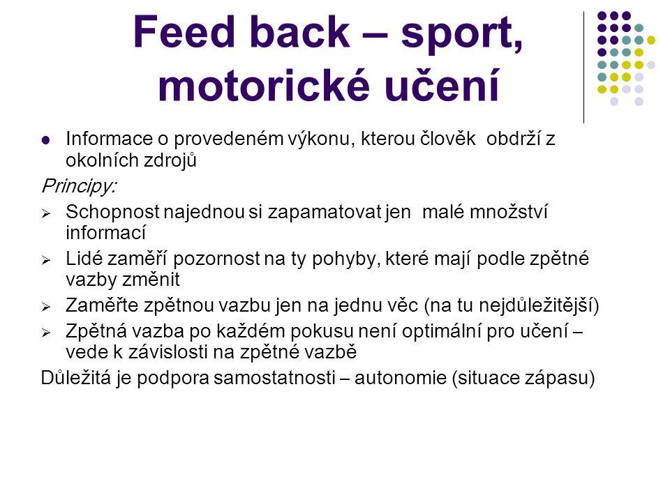 Feed back – zpětná vazba Reakce na přijatou zprávu v podobě potvrzení a způsobu interpretace. Je velmi důležitá, dává informaci o tom, jak je zpráva p