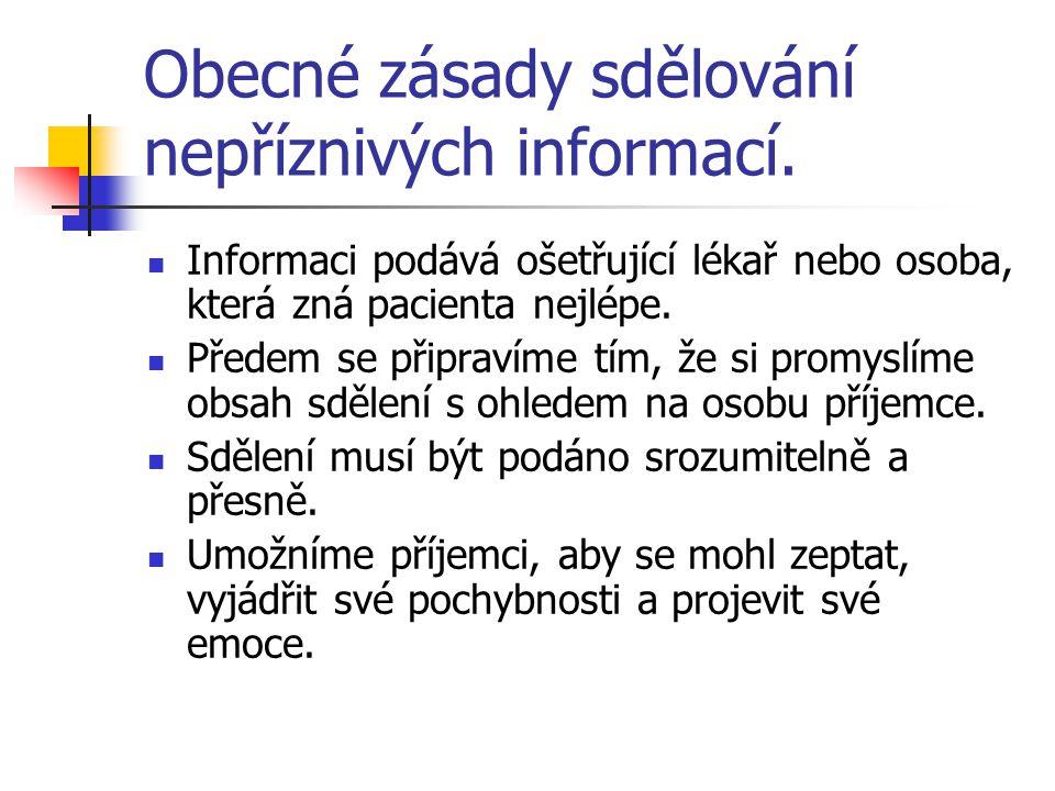 Obecné zásady sdělování nepříznivých informací. Informaci podává ošetřující lékař nebo osoba, která zná pacienta nejlépe. Předem se připravíme tím, že
