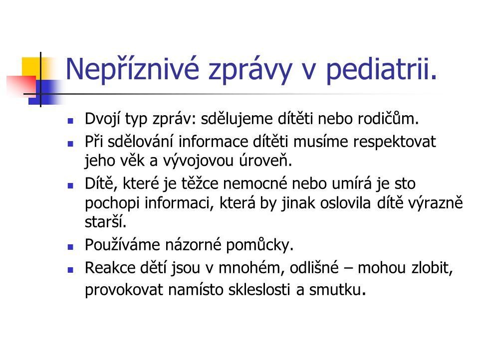 Nepříznivé zprávy v pediatrii. Dvojí typ zpráv: sdělujeme dítěti nebo rodičům. Při sdělování informace dítěti musíme respektovat jeho věk a vývojovou