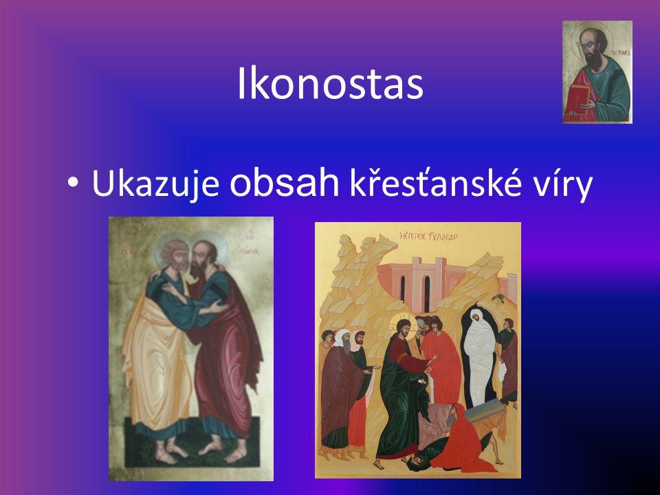 Ikonostas Ukazuje obsah křesťanské víry