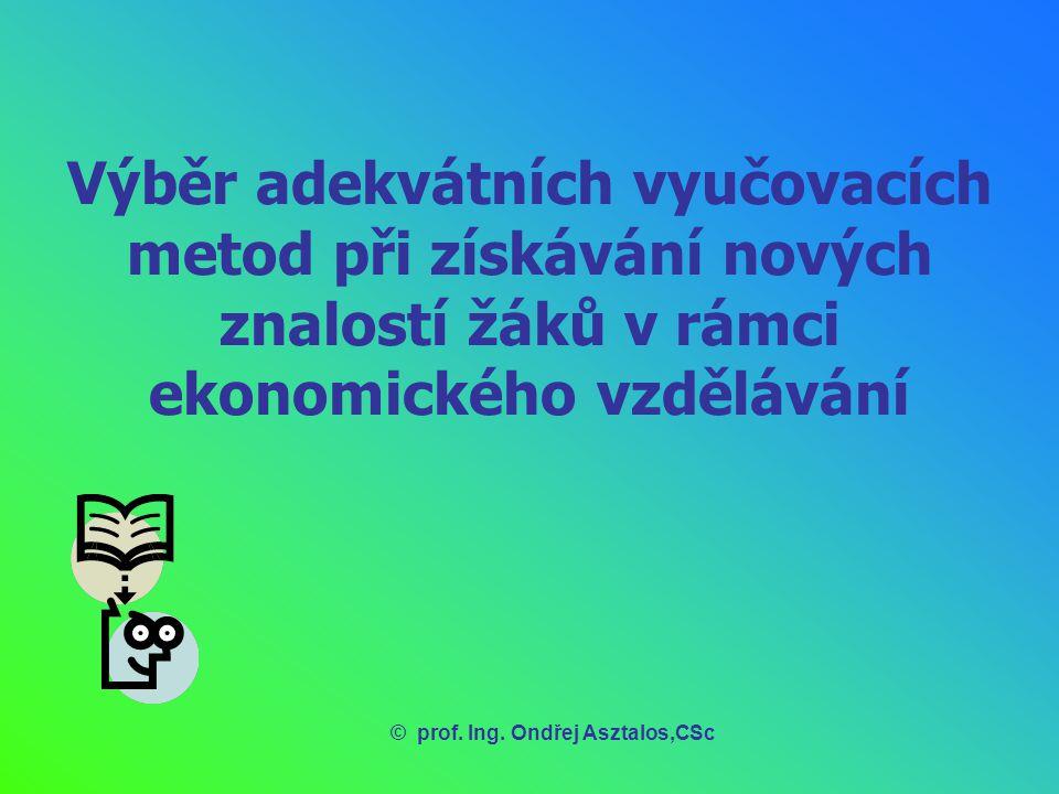 Výběr adekvátních vyučovacích metod při získávání nových znalostí žáků v rámci ekonomického vzdělávání 1.Vyučovací metoda jako didaktický jev 2.Klasifikace vyučovacích metod 3.Výběr metod mluvené monologické komunikace v ekonomickém vzdělávání 4.Výběr metod mluvené dialogické komunikace v ekonomickém vzdělávání 5.Výběr metod psané komunikace v ekonomickém vzdělávání 6.Metody založené na pozorovací činnosti žáků v ekonomickém vzdělávání