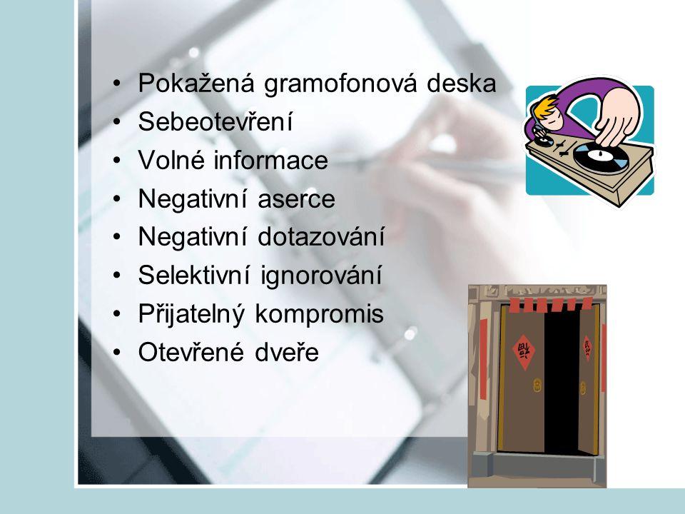 Pokažená gramofonová deska Sebeotevření Volné informace Negativní aserce Negativní dotazování Selektivní ignorování Přijatelný kompromis Otevřené dveř