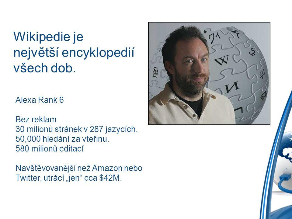 Wikipedie je největší encyklopedií všech dob. Alexa Rank 6 Bez reklam. 30 milionů stránek v 287 jazycích. 50,000 hledání za vteřinu. 580 milionů edita