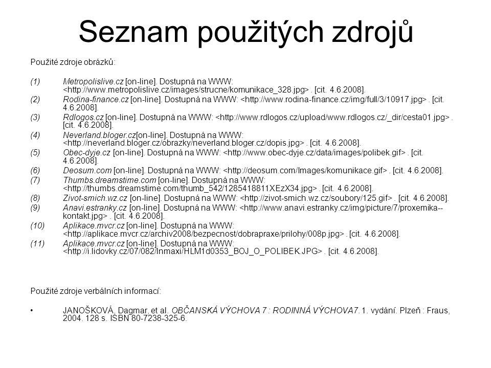 Seznam použitých zdrojů Použité zdroje obrázků: (1)Metropolislive.cz [on-line]. Dostupná na WWW:. [cit. 4.6.2008]. (2)Rodina-finance.cz [on-line]. Dos