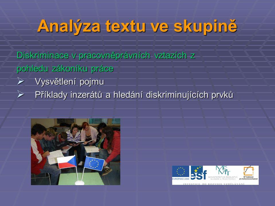 Analýza textu ve skupině Diskriminace v pracovněprávních vztazích z pohledu zákoníku práce  Vysvětlení pojmu  Příklady inzerátů a hledání diskriminujících prvků