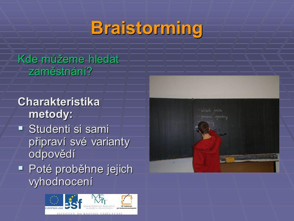 Braistorming Kde můžeme hledat zaměstnání.
