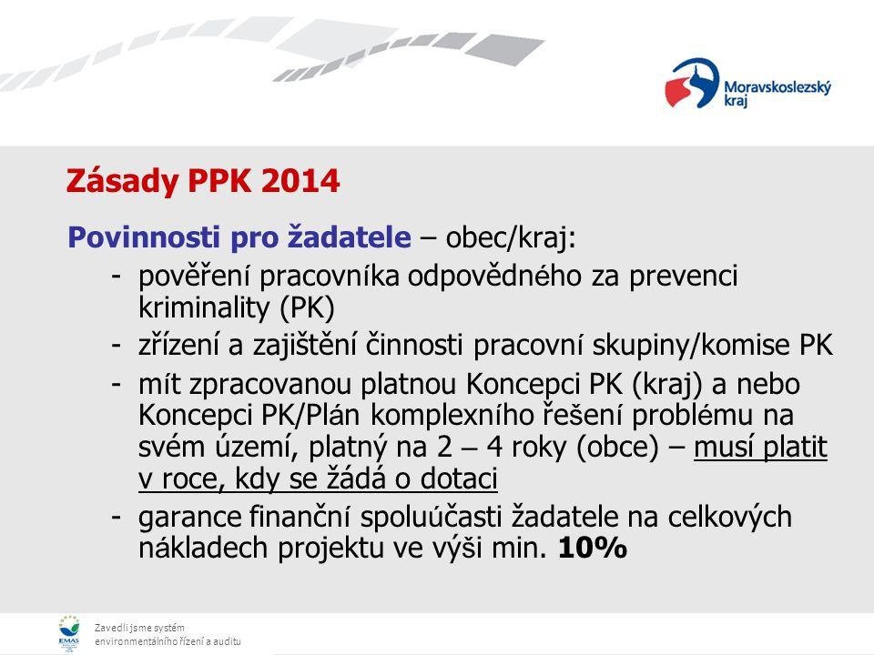 Zavedli jsme systém environmentálního řízení a auditu Zásady PPK 2014 Žádost musí obsahovat povinné přílohy: -Program žadatele a dílčí projekty (žádosti) -Bezpečnostní analýzu a vyjmenování hlavních bezpečnostních problémů, které budou v rámci projektu řešeny s odkazem na priority stanovené ve Strategii nebo Koncepci prevence kriminality kraje/obce, -doklad o schválení projektu/ů (programu) zastupitelstvem nebo radou kraje či obce, -u projektů z oblasti situační prevence souhlasné stanovisko Policie ČR, -u projektů situační prevence týkajících se kamerových systémů jsou součástí zpracované tzv.