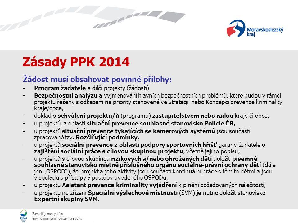 Zavedli jsme systém environmentálního řízení a auditu Zásady PPK 2014 Žádost musí obsahovat povinné přílohy: -Program žadatele a dílčí projekty (žádos