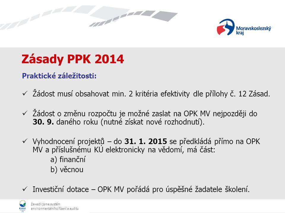 Zavedli jsme systém environmentálního řízení a auditu Zásady PPK 2014 Praktické záležitosti: Žádost - písemně: 1 originál + 1 kopie (vše v kroužkové vazbě bez použití eurofolií, očíslované stránky) - elektronicky: CD/DVD (všechny přílohy naskenované jednotlivě ve formátu pdf/word, žádost také ve formátu excel) Název projektu ve znění: např.