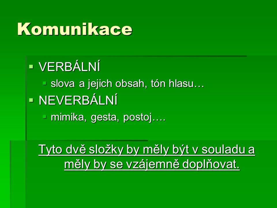 Komunikace  VERBÁLNÍ  slova a jejich obsah, tón hlasu…  NEVERBÁLNÍ  mimika, gesta, postoj….