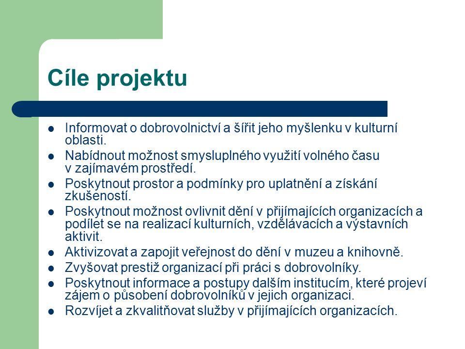 Cíle projektu Informovat o dobrovolnictví a šířit jeho myšlenku v kulturní oblasti. Nabídnout možnost smysluplného využití volného času v zajímavém pr