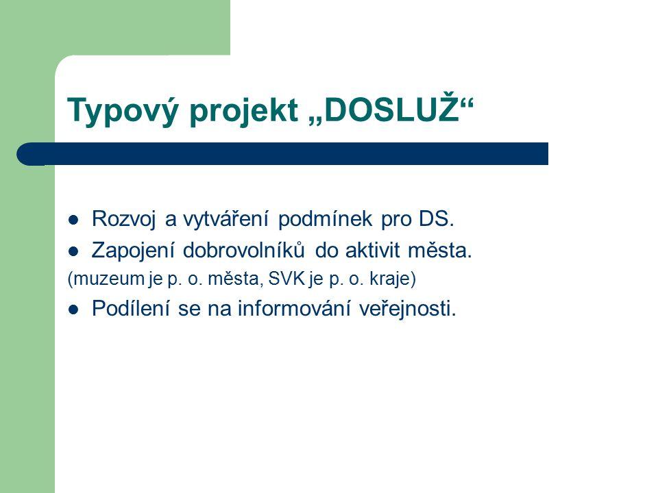 """Typový projekt """"DOSLUŽ"""" Rozvoj a vytváření podmínek pro DS. Zapojení dobrovolníků do aktivit města. (muzeum je p. o. města, SVK je p. o. kraje) Podíle"""