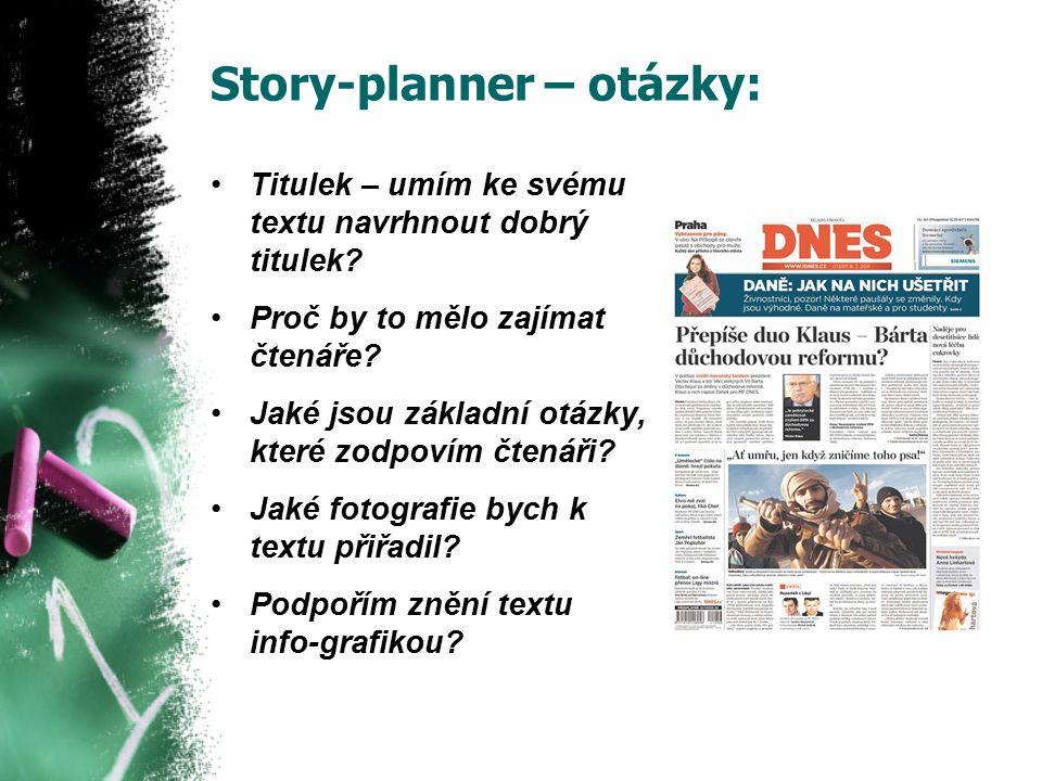 Story-planner – otázky: Titulek – umím ke svému textu navrhnout dobrý titulek.