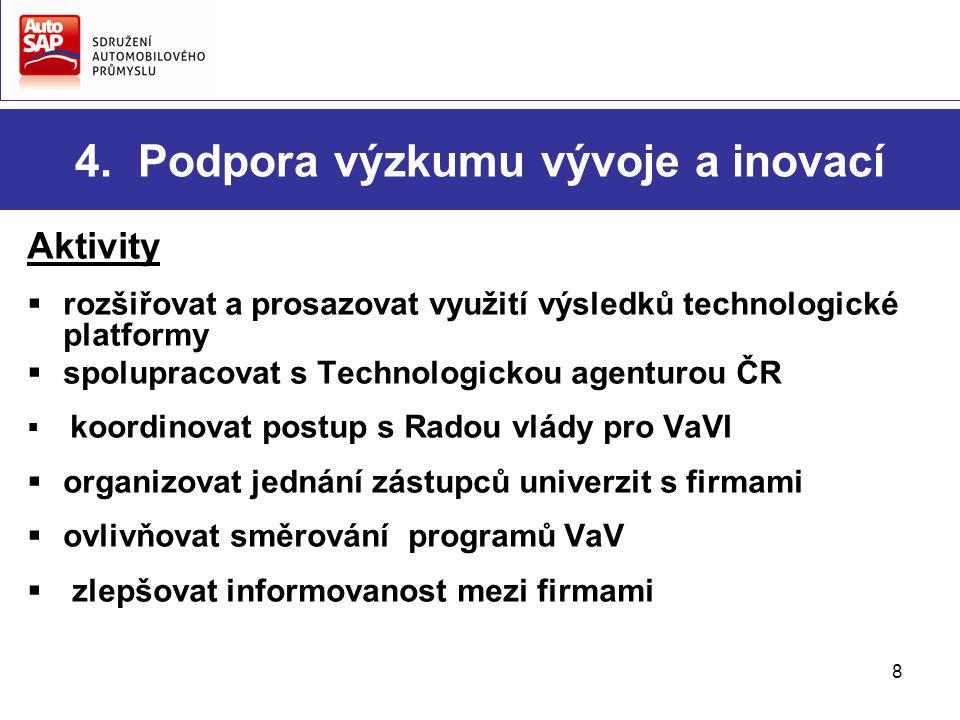 8 4. Podpora výzkumu vývoje a inovací Aktivity  rozšiřovat a prosazovat využití výsledků technologické platformy  spolupracovat s Technologickou age