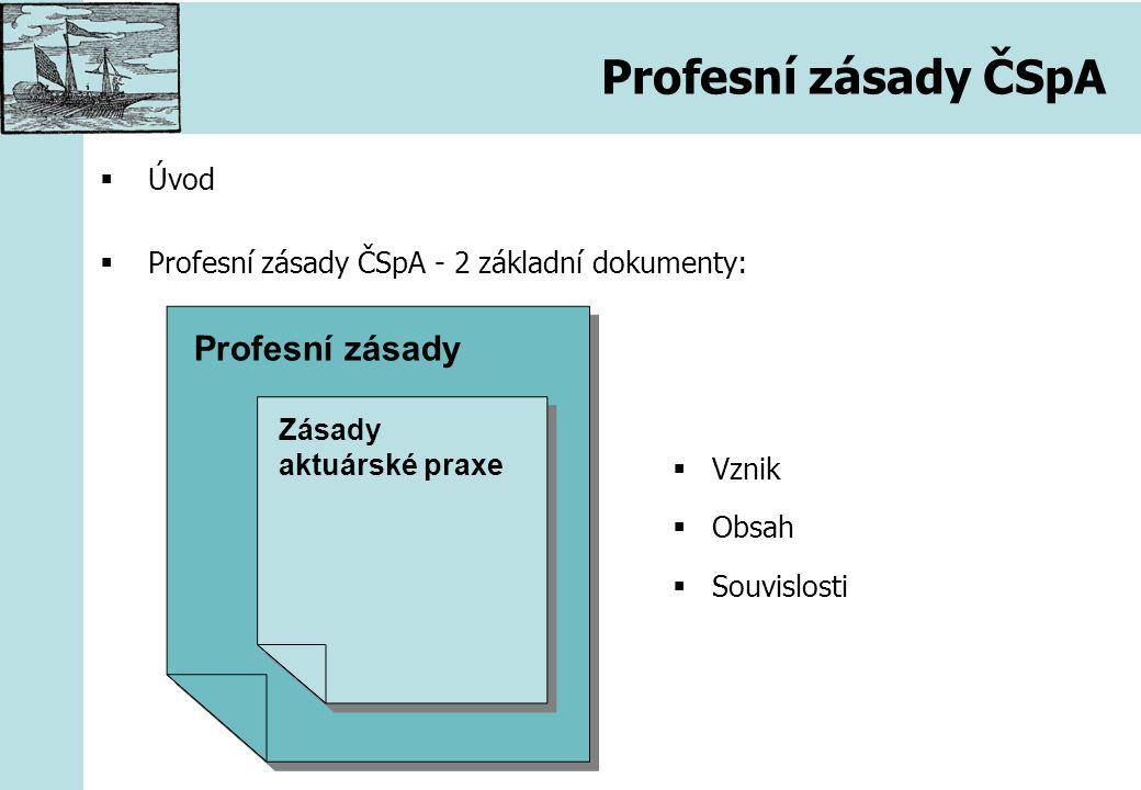 Profesní zásady ČSpA  Úvod  Profesní zásady ČSpA - 2 základní dokumenty: Profesní zásady Zásady aktuárské praxe  Vznik  Obsah  Souvislosti