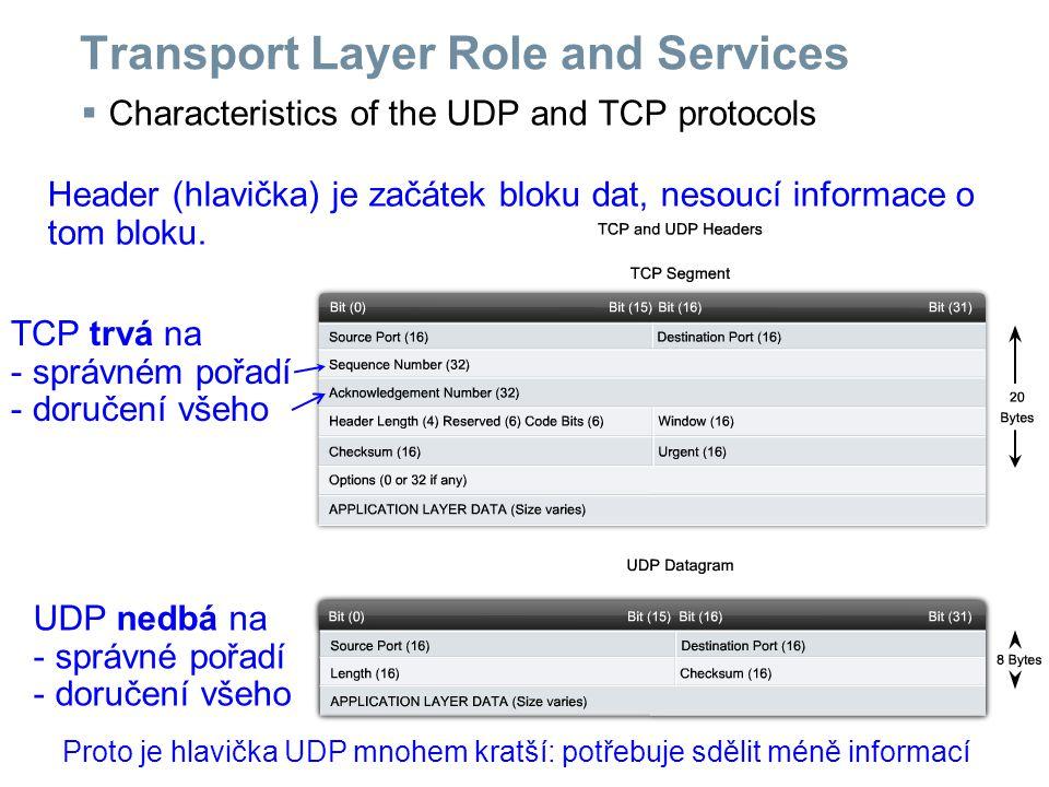 Transport Layer Role and Services  Port numbers in the TCP and UDP protocols Čísla portů doplňují adresu.