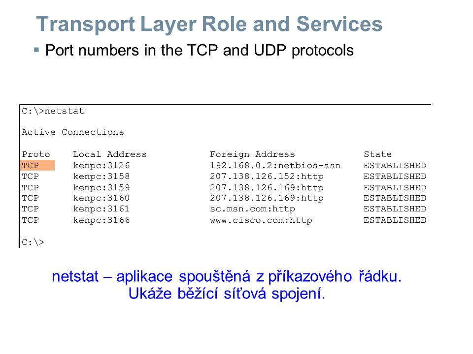 Transport Layer Role and Services  Segments in the transport layer UDP nedbá na - správné pořadí - doručení všeho - zácpy po cestě TCP si segmenty očísluje, aby - mohly být poskládány ve stejném pořadí - se mohlo zkontrolovat, že se žádný neztratil TCP se stará o řízení toku tak, aby se kvůli zácpám nic neztrácelo.