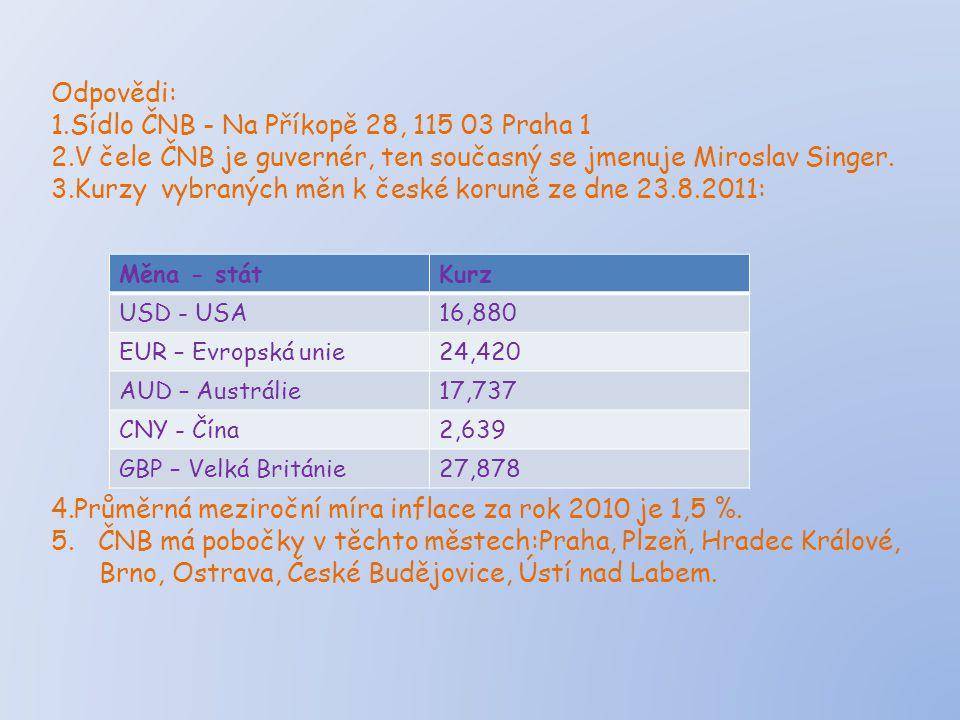 Odpovědi: 1.Sídlo ČNB - Na Příkopě 28, 115 03 Praha 1 2.V čele ČNB je guvernér, ten současný se jmenuje Miroslav Singer. 3.Kurzy vybraných měn k české