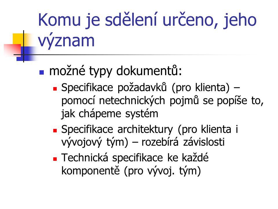 Komu je sdělení určeno, jeho význam možné typy dokumentů: Specifikace požadavků (pro klienta) – pomocí netechnických pojmů se popíše to, jak chápeme systém Specifikace architektury (pro klienta i vývojový tým) – rozebírá závislosti Technická specifikace ke každé komponentě (pro vývoj.