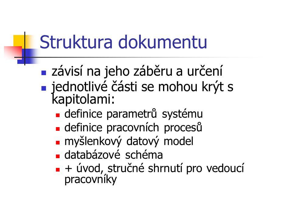 Struktura dokumentu závisí na jeho záběru a určení jednotlivé části se mohou krýt s kapitolami: definice parametrů systému definice pracovních procesů myšlenkový datový model databázové schéma + úvod, stručné shrnutí pro vedoucí pracovníky