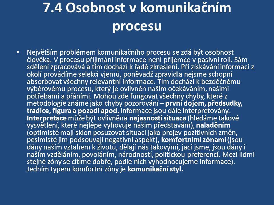 7.5 Komunikační styl Bělohlávek (1996) cituje Robinsna, který rozlišuje čtyři individuální styly: analytický, řídící, přátelský, expresivní.