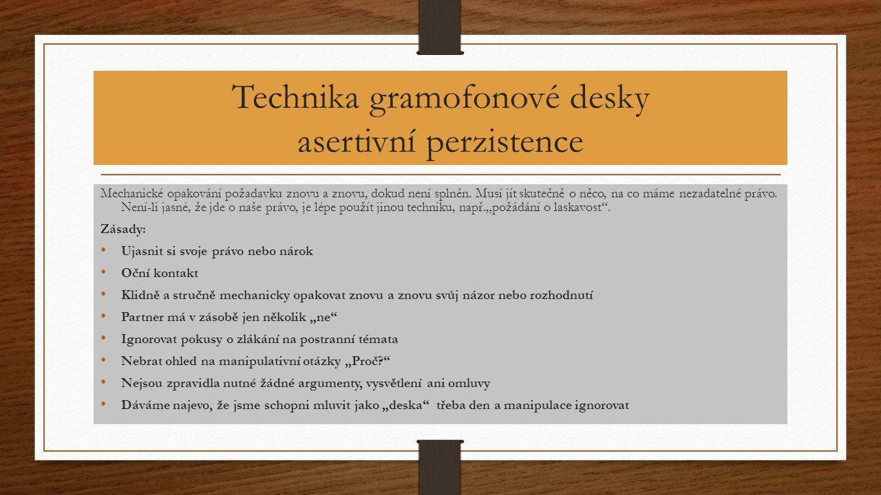 Technika gramofonové desky asertivní perzistence Mechanické opakování požadavku znovu a znovu, dokud není splněn. Musí jít skutečně o něco, na co máme