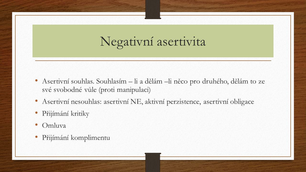 Negativní asertivita Asertivní souhlas. Souhlasím – li a dělám –li něco pro druhého, dělám to ze své svobodné vůle (proti manipulaci) Asertivní nesouh