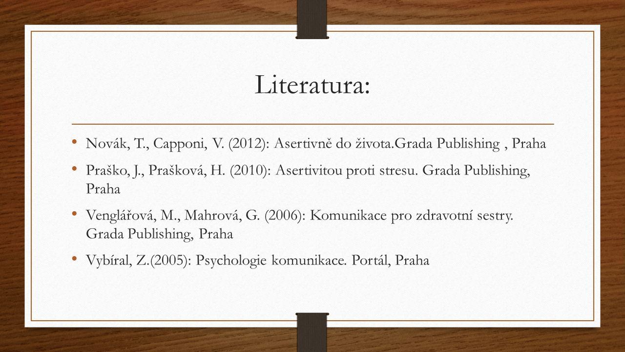 Literatura: Novák, T., Capponi, V. (2012): Asertivně do života.Grada Publishing, Praha Praško, J., Prašková, H. (2010): Asertivitou proti stresu. Grad