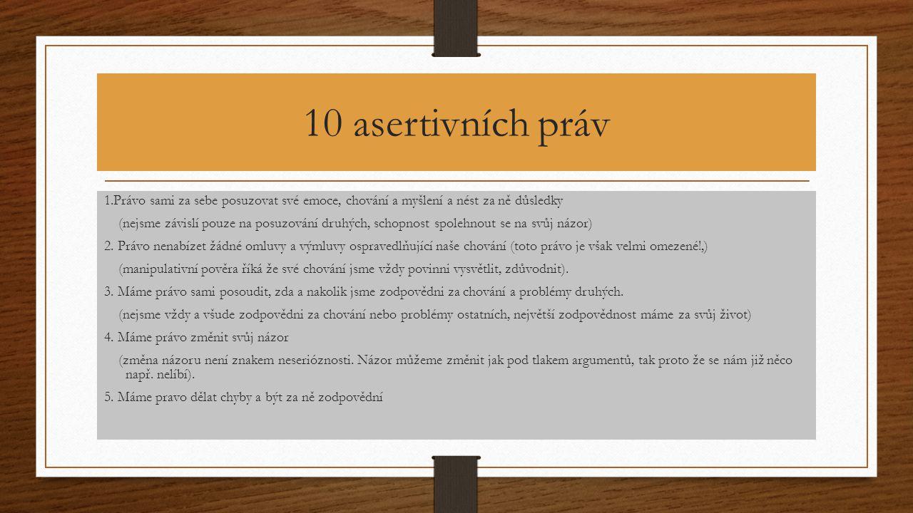 10 asertivních práv 1.Právo sami za sebe posuzovat své emoce, chování a myšlení a nést za ně důsledky (nejsme závislí pouze na posuzování druhých, sch