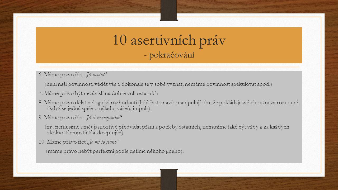 """10 asertivních práv - pokračování 6. Máme právo říct """"Já nevím"""" (není naší povinností vědět vše a dokonale se v sobě vyznat, nemáme povinnost spekulov"""