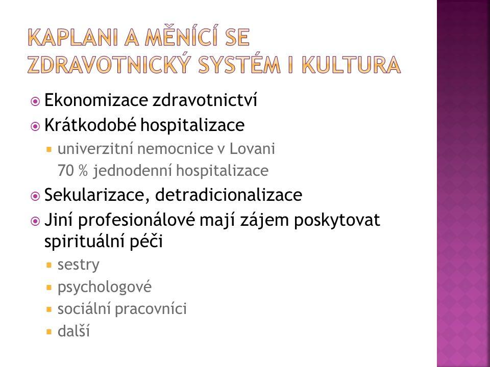  Ekonomizace zdravotnictví  Krátkodobé hospitalizace  univerzitní nemocnice v Lovani 70 % jednodenní hospitalizace  Sekularizace, detradicionaliza