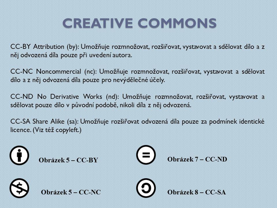 CC-BY Attribution (by): Umožňuje rozmnožovat, rozšiřovat, vystavovat a sdělovat dílo a z něj odvozená díla pouze při uvedení autora.